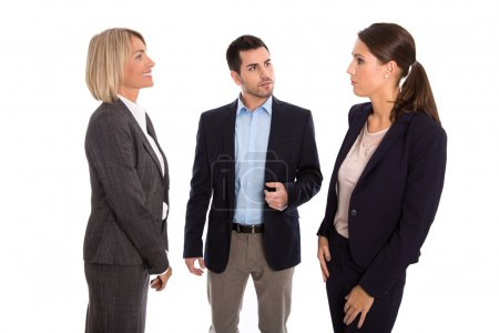 Isolated business team: man and woman talking together.