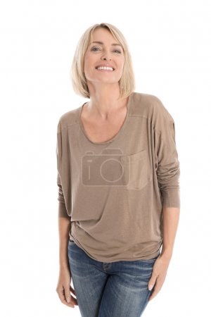 Satisfied attractive middle aged isolated smiling blond woman.