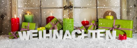 German greeting card in red and green with text: Christmas.