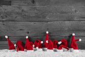 Humorously red, grey and white wooden christmas background with