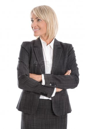 Smiling isolated business woman looking sideways to text.