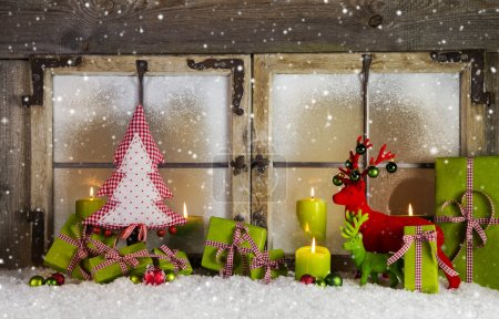 Christmas background or window decoration in red and green color