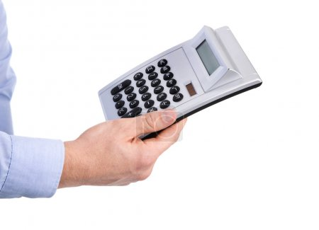 Isolated business man holding a pocket calculator in his hands.