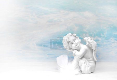 Dreaming white angel: condolence background.