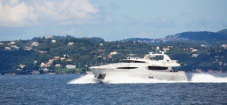 Luxury big motorboat or motor yacht in the sea.