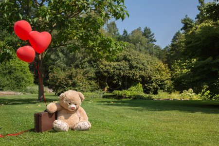 Sad and lonesome teddy bear with red hearts balloons. Concept fo
