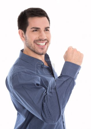 Photo pour Fier et heureux jeune homme d'affaires faisant poing isolé sur blanc . - image libre de droit