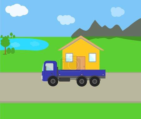 Mobile home on the road among lakes, mountains, fi...