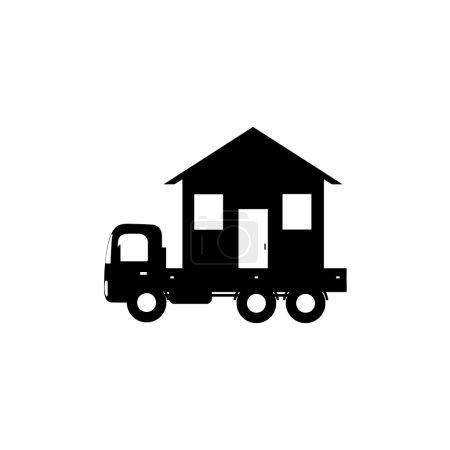 Vector icon mobile home, black silhouette...