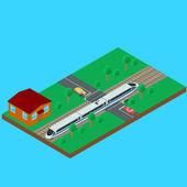passenger train traveling through the railroad crossing