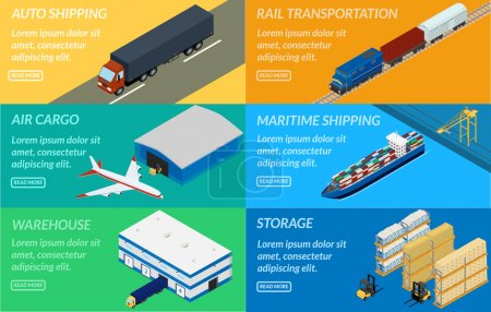 Illustration for Vector illustration. web banners set of logistics chain. Delivery by truck, airplane, ship, freight train. Warehouse, forklift. isometric, infographic - Royalty Free Image