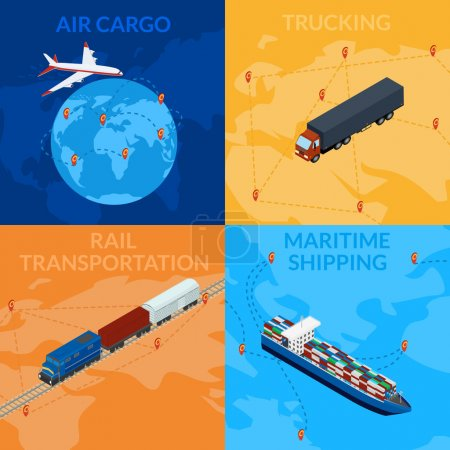 Illustration for Vector illustration. Global supply chain. Logistics. 3D, isometry, infografia. Set banners - cargo train, ship, truck, cargo plane. - Royalty Free Image