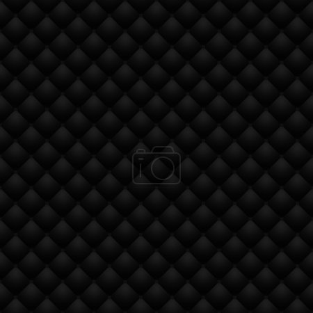 Black leather upholstery raster seamless pattern, render