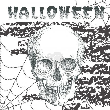 Halloween postcard with scull in dots