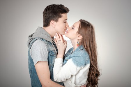 Photo for Valentine Couple. Happy Joyful Family. Love Concept. Valentines Day - Royalty Free Image