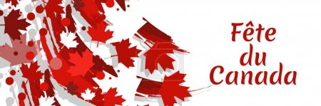 Illustration pour Traduction : Fête du Canada. Joyeuse fête du Canada (fte du Canada) Illustration vectorielle de la feuille d'érable. Convient pour carte de vœux, affiche et bannière. - image libre de droit