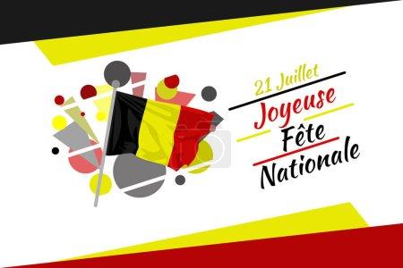 Illustration pour Traduire : 21 juillet, Joyeuse fête nationale. Happy Belgium National Day (Fte Nationale Belge) Illustration vectorielle. Convient pour carte de vœux, affiche et bannière. - image libre de droit