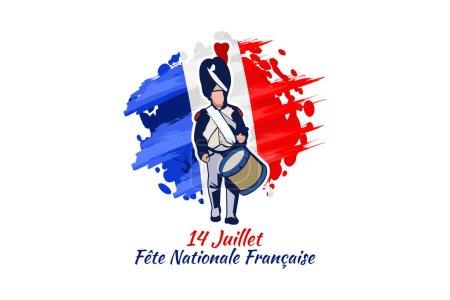Illustration pour Traduire : 14 juillet, Fête nationale de France. Joyeux Jour de la Bastille (Fte nationale franaise) illustration vectorielle. Convient pour carte de vœux, affiche et bannière - image libre de droit