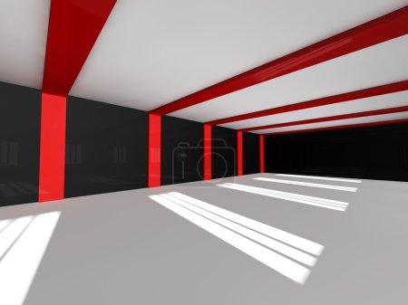 Empty white open space 3D rendering