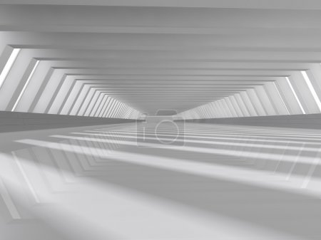 Photo for Abstract modern architecture background, empty white open space interior with windows and gray concrete walls, 3D rendering - Royalty Free Image