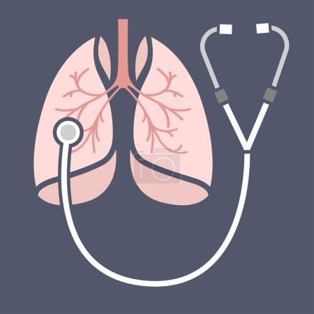 Illustration pour Belle illustration vectorielle des poumons qui écoutent le stéthoscope. Symbole de médecine abstraite. Utile pour la conception de panneaux, logotypes, pictogrammes, infographies, dépliants, brochures et affiches . - image libre de droit