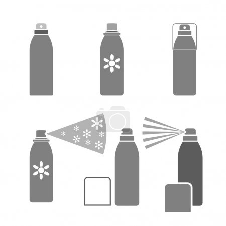 Deodorant icons in gray color isolated on a white ...