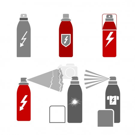 Antistatic spray icons in gray color isolated on a...