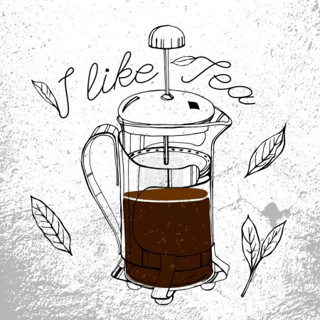 Hand drawn tea-pot image in artistic style. Vector...
