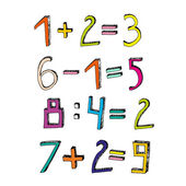 Vector handdrawn figures Volumetric handmade numbers Colorful figures and mathematical characters in funny style on a white background