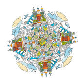 Handdrawn doodle city mandala image Decorative ornamental vector illustration in oriental style Colorful bright concept Useful for coloring book poster or children book creative design