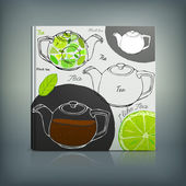 Beautiful Menu concept for an eating house restaurant coffee-room tea-house tea-room tea-shop cafe or roastery Editable vector illustration based on a hand drawn elements