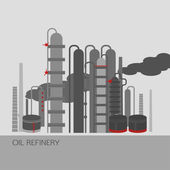 Oil refinery or chemical plant image Vector illustration im grey red and light grey colors on a light grey background Oil patch symbol