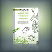 Vector handdrawn biology brochure cover template Modern backgrounds for poster print flyer book booklet brochure and leaflet design Editable graphic collection in white black and green colors