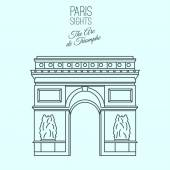 The Arc de Triomphe in Paris Beautiful vector illustration in modern style isolated on a light blue background Paris main sights collection
