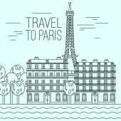 Paris cityscape with Seine River EIffel Tower and traditional embankment Beautiful vector illustration in modern style isolated on a light blue background Paris main sights collection