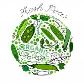 Beautiful handdrawn pattern in bright green colours Vector illustration with peapods and peas in unique artistic style on a textured background Natural and organic food creative concept