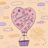 Flying balloon in a shape of heart hand drawn image Beautiful vector illustration in light  beige violet and pink colours Travelling is my love creative concept