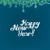 The illustration of blue Background with new year branches Vector image