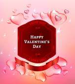 Vector illustration of the valentine postcard with transparent hearts