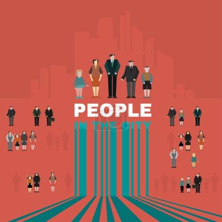 Illustration pour Les gens de la ville. Concept vectoriel. Peut être utilisé dans les logotypes, enseignes, infographies, modèles, présentations et affiches . - image libre de droit