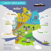 Vector illustration of Germany infographics with stylish roads rivers and buildings Vector image