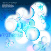 The illustration of molecule with infographics elements Research and experiment charts and diagrams Vector image for school and science templates