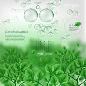 The illustration of beautiful bio infographics with water cycle scheme Ecology set with oxygen water and carbon dioxyde molecules