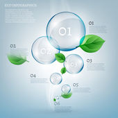 The illustration of beautiful scientific bio infographics with transparent bubbles and fresh leaves Ecology concept Vector image