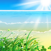 The illustration of beautiful sea background with spectacular sunshine and dune grass Vector image