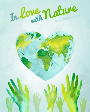 Illustration for Vector watercolor hand drawn painted Illustration of environmentally friendly World map. Think green and save the Earth. Ecology and protection concept. Globe watercolour vector image. - Royalty Free Image