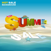 Seasonal summer sale poster with beautiful typography Conceptual vector illustration Colorful three-dimensional realistic letters standing at the beach under a blue sky