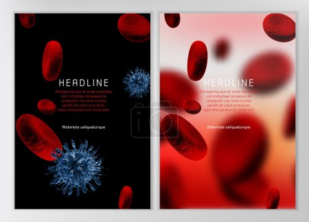Illustration for Modern vector brochure, report or flyer design template. Medical industry, biotechnology and biochemistry concept. A4 scientific medical designs.  Letter Cover Templates Collection. - Royalty Free Image