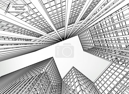 Illustration for Vector illustration of beautiful skyscrapers. View from below. Useful abstract urban background for business brochure, leaflet, print and other modern and futuristic design. - Royalty Free Image