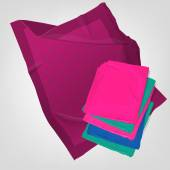 The illustration of  beautiful realistic folded plaids Four different colors in a kit Totally vector image Could be used as blanket coverlet linens cloths or wrap